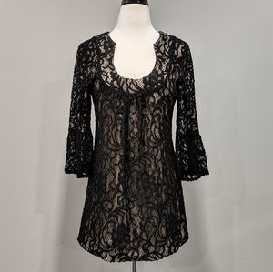 INC baby doll dress with lace overlay, bell sleeve